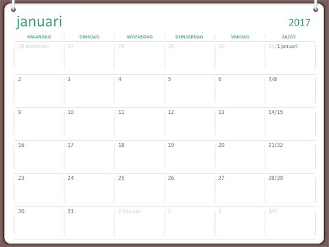 Kalender 2020 Excel Nederlands