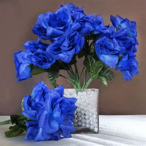 84 Royal Blue SILK OPEN ROSES Wedding Discounted Flowers