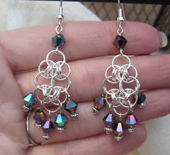 helm earrings with beads