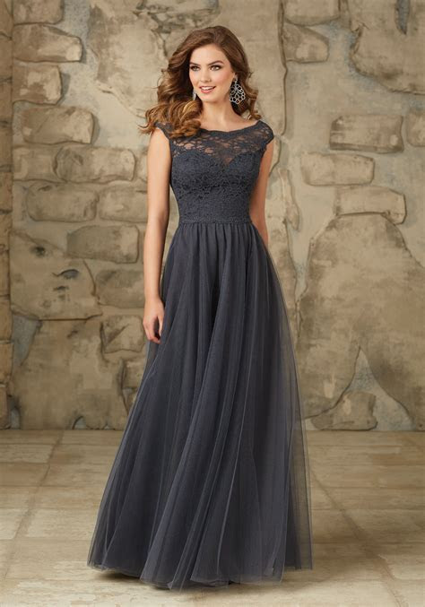 Long and Elegant Lace and Tulle Bridesmaid Dress   Style