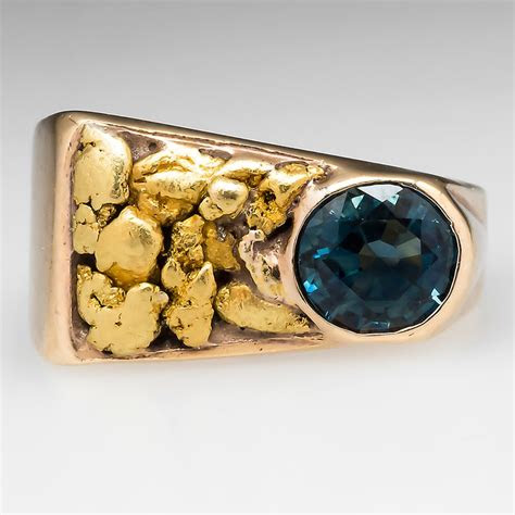 montana sapphire  natural gold nugget band ring