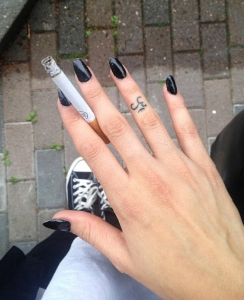 Tattoo Cigarette Hand Tattoo Om Om Symbol Finger Tattoo Girl Tattoos