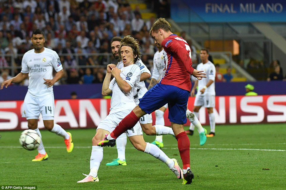Griezmann was by far the most dangerous player for Atletico in the first half but Luka Modric and his Real team-mates kept him at bay