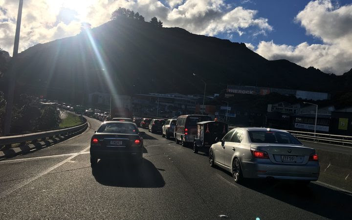 Northbound traffic backed up at the base of the gorge as rush hour approaches.