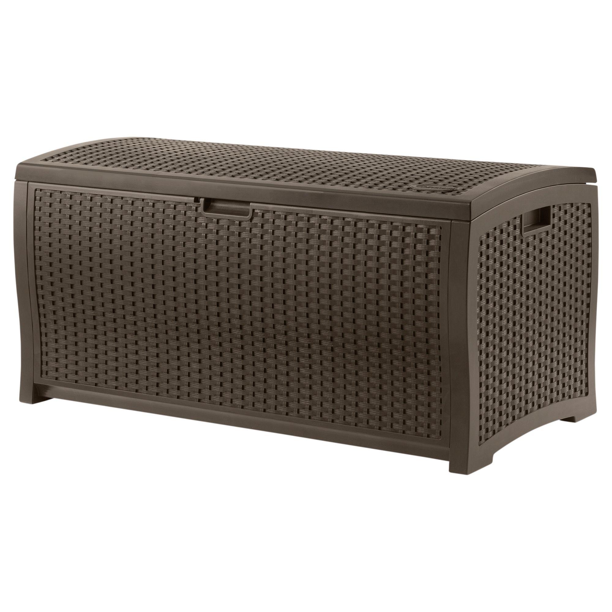 Suncast 99 Gallon Resin Wicker Deck Box - Outdoor Living ...