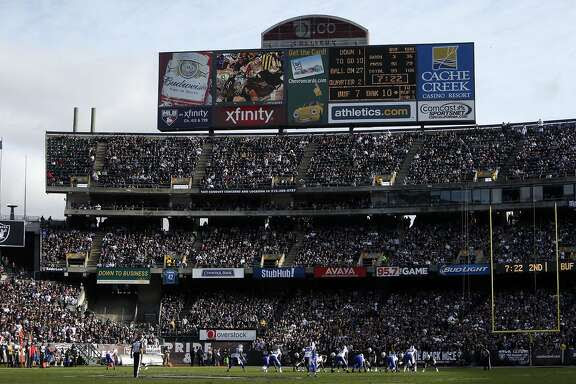 Oakland Raiders play Buffalo Bills during NFL game at O.co Coliseum in Oakland, Calif., on Sunday, December 21, 2014.