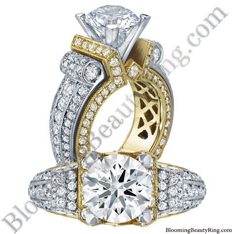 Two Toned Scrolling Tiffany Round Diamond Engagement Ring
