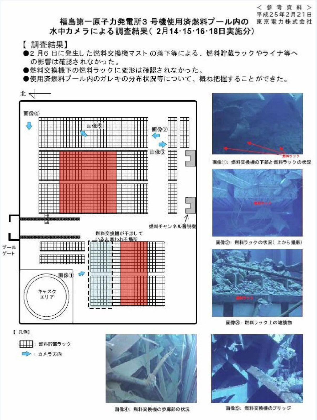 Fig. 99 : Assemblages de la piscine de combustible : en rouge, la zone non documentée par Tepco (zone colorée en rouge ajoutée par l'auteur)
