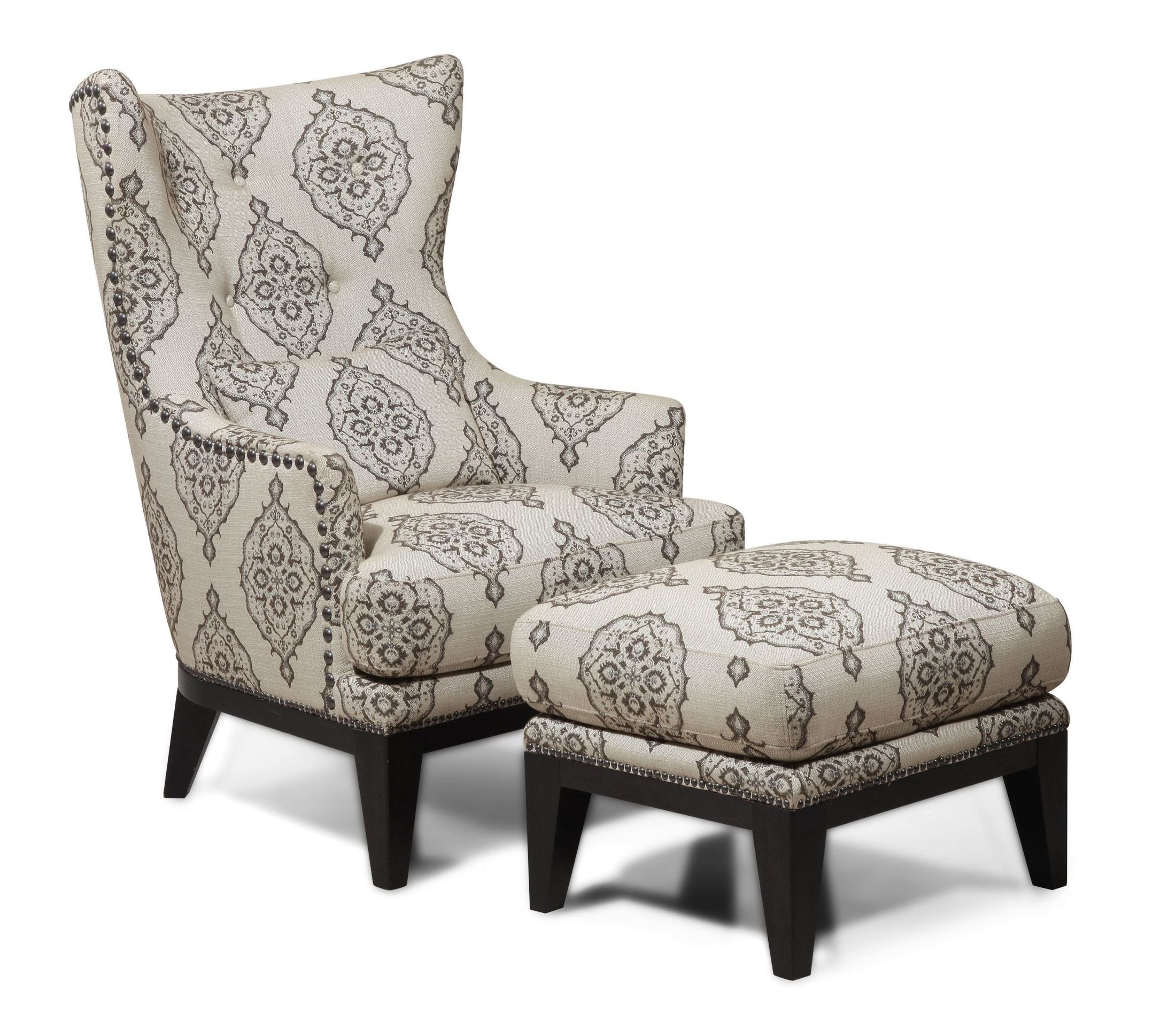 Charleston Antique Espresso Accent Chair  Ottoman from