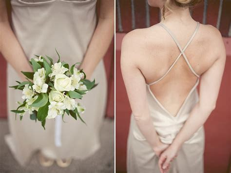Classic ivory bridal bouquet and chic low back champagne