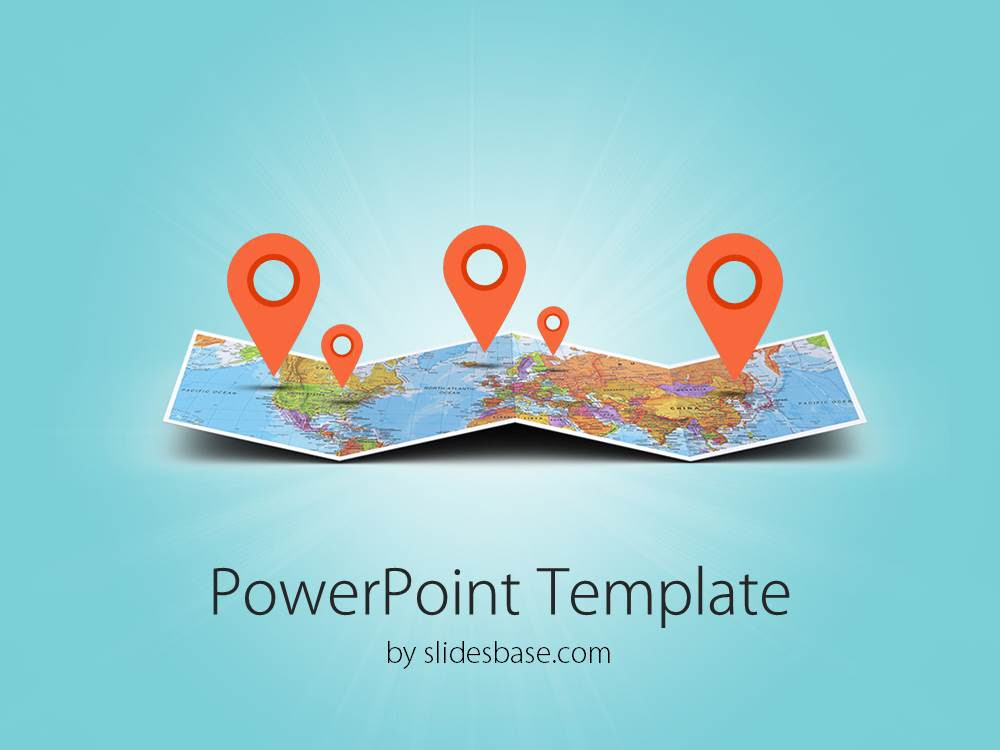 3D folded map travel business world map markers pin location travel tourism powerpoint template 1
