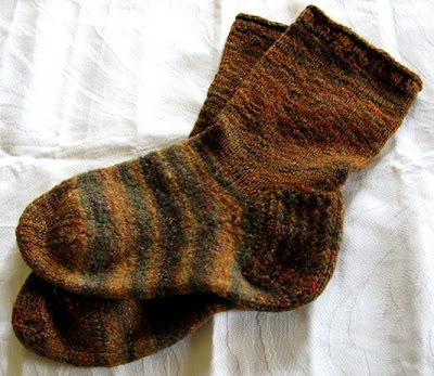 Handdyed, handspun wool and silk socks