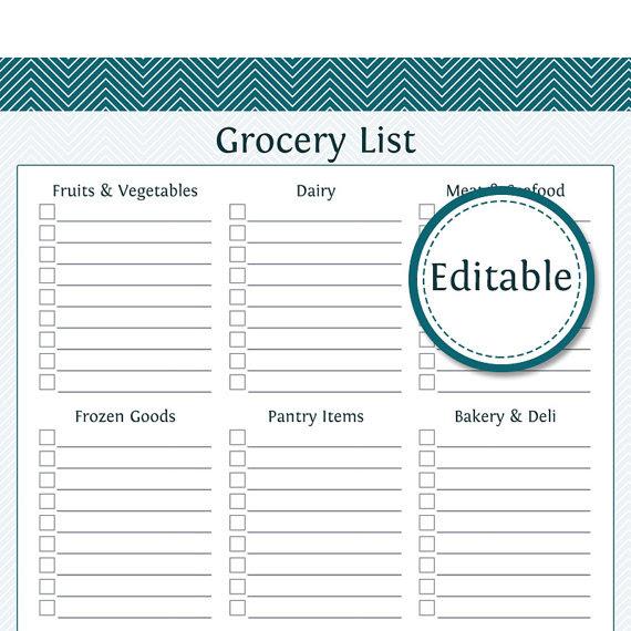 8 Best Images Of Editable Grocery List Printable - Printable ...