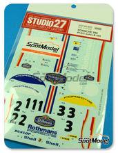 Calcas 1/20 Studio27 - Porsche 956 Works Rothmans - Nº 1, 2, 3 - Jacky Ickx + Derek Bell, H. Haywood + A. Holbert, J. Mass + V. Schuppan - 24 Horas de Le Mans 1983 para kit de Tamiya TAM24309 y TAM24314