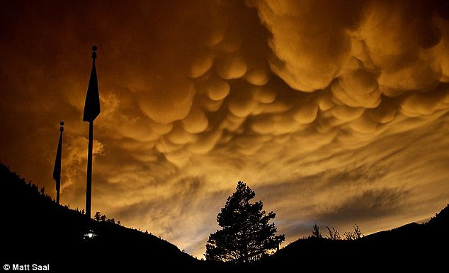 Similar: Meteorologist, Graeme Anderson found the conditions that cause undulatus asperatus were similar to mammatus clouds (pictured) but with high-level winds shaping vapour into the waves and swirls