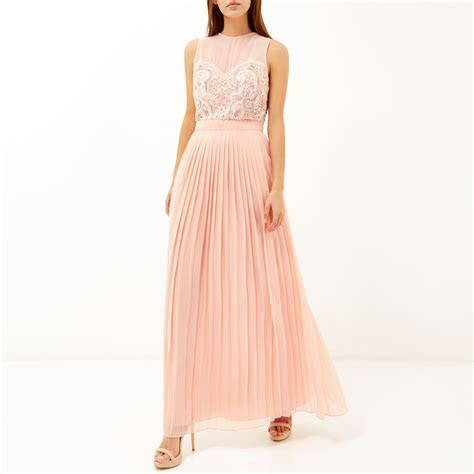 River Island Pink Sequin Embellished Maxi Prom Dress in