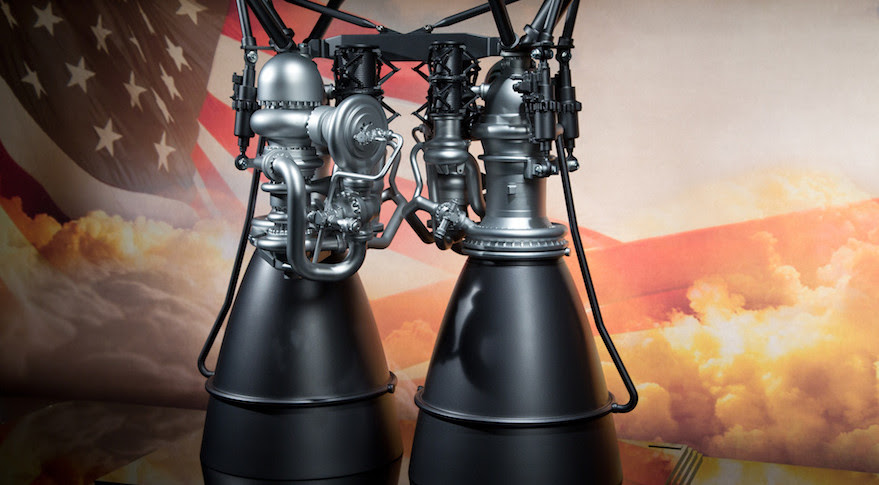A 1/6 scale model of the AR1 engine currently in development by Aerojet Rocketdyne as a replacement for the Russian-built RD-180 engine that powers United Launch Alliance's Atlas 5 rocket. Credit: Aerojet Rocketdyne