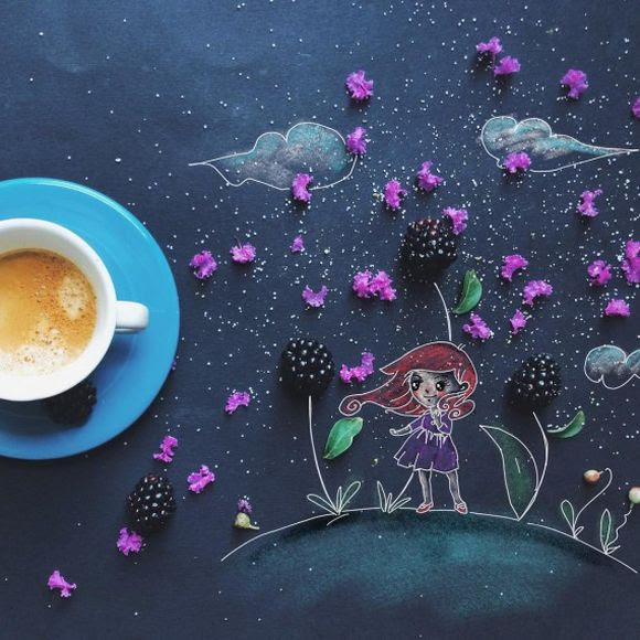 morning coffee with blackberries illustration