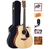 Yamaha FGX700SC Solid Top Cutaway Acoustic-Electric Guitar Bundle with Hardshell Case, Tuner, Instructional DVD...