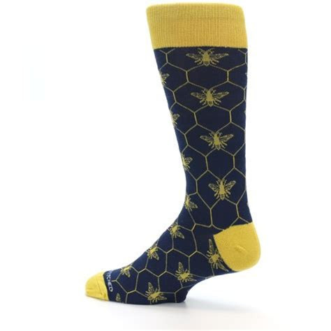 Navy Yellow Honey Bee Men?s Dress Socks   Unsimply Stitched