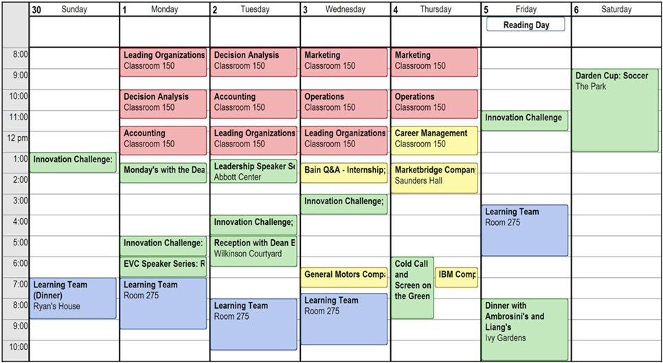schedule. First Quarter Student Schedule