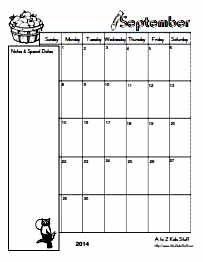 A to Z Kids Stuff | Editable Blank Monthly Calendars