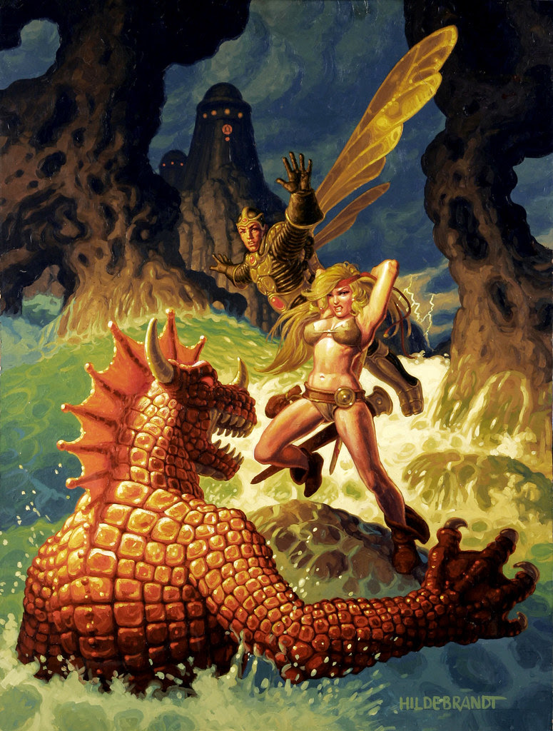 Greg and Tim Hildebrandt - Battle with Red Sea Beast Painting Original Art (1982).