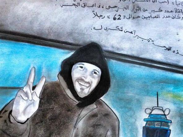 Un disegno regalato a Lolli da 62 migranti. Nel testo si legge: «Si ringrazia nel nome di Allah il capitano Karim che ci ha salvato dalle profondità del mare»