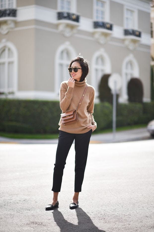 Le Fashion Blog Blogger Anh Fall Cashmere Turtleneck Sweater  Round Sunglasses Slim Trousers Cross Body Bag Leather Pointy Flats Via 9 To 5 Chic