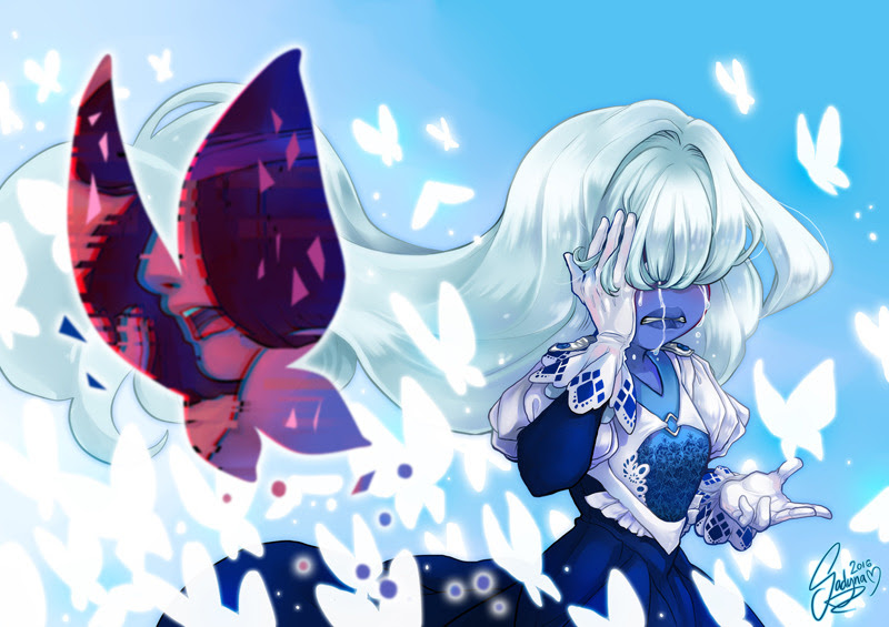 ''I might lose you'' This kinda AU for SU episode 'Mindful Education'. Sapphire had to choose to lose Ruby or join Blue Diamond once again but the image of shattered Ruby won't go away. Or something...