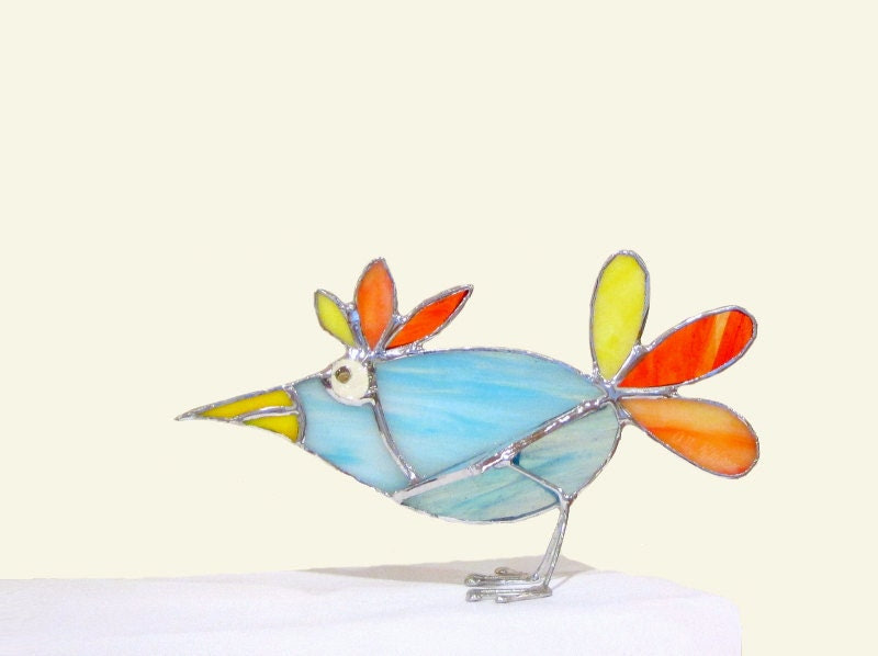 Stained Glass 3D Stand-Up Bird Handmade OOAK 247