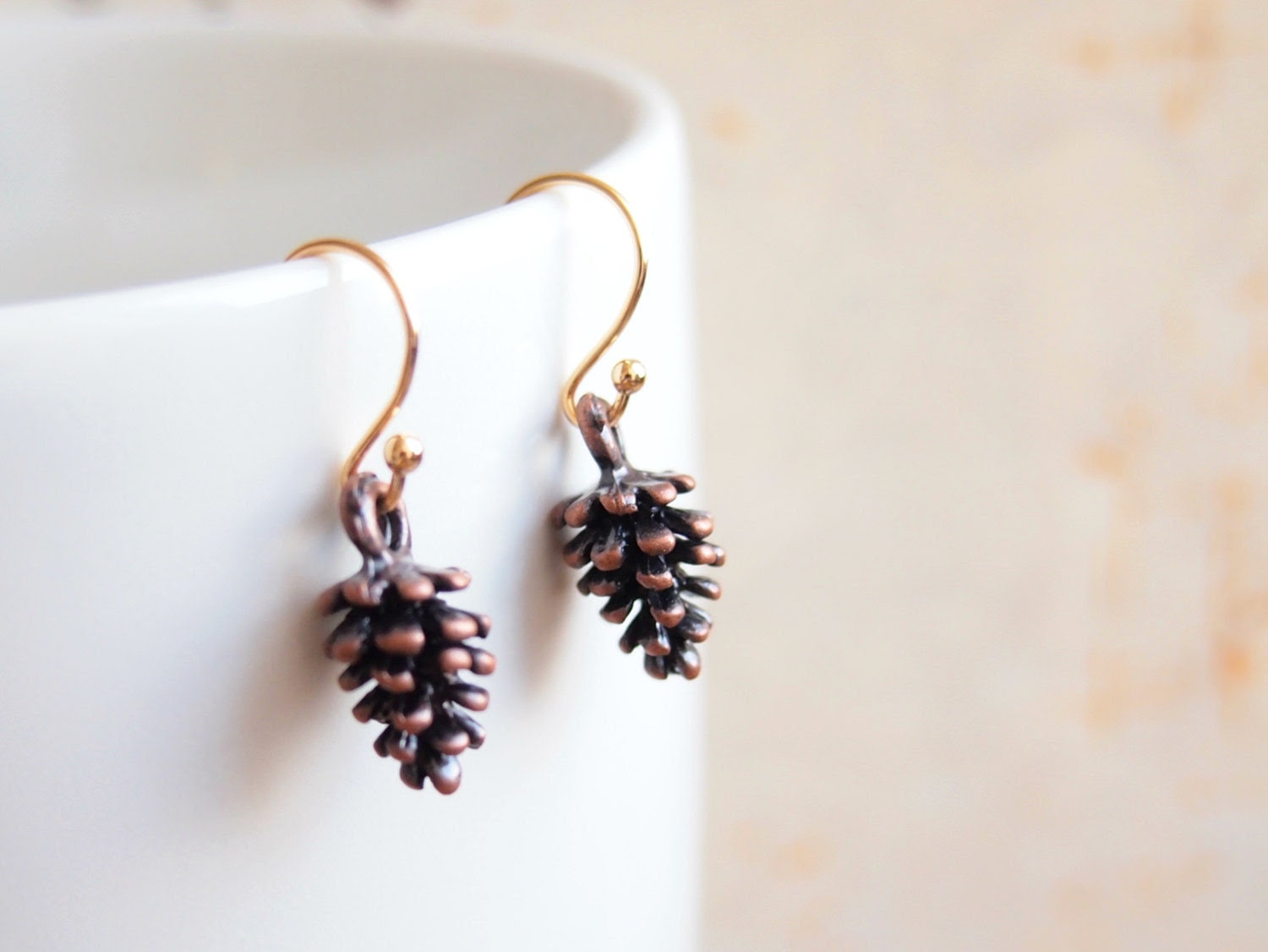 FREE SHIPPING-Pinecone Earrings, Forest charm Antiqued Copper,Gold-plated earwire,Fall Jewelry, Christmas Gift, Woodland Nature, Minimalist, - VintageDiary