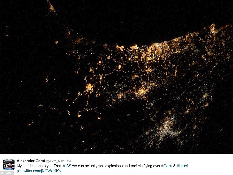 Heartbreaking:The world watched on in horror as the conflict between Israel and Gaza escalated – and its devastating impact reached space.Looking down from his perch 200 miles (320km) above Earth, astronaut Alexander Gerst was able to see rockets lighting up the area