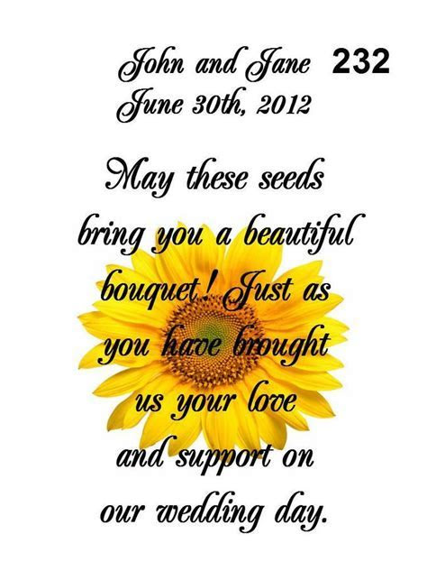 Wedding Favors Seed Packets Personalized Sunflower 100 Qty