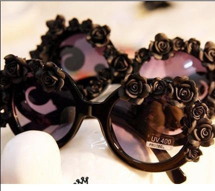 All Black gaga / runway style flower glasses