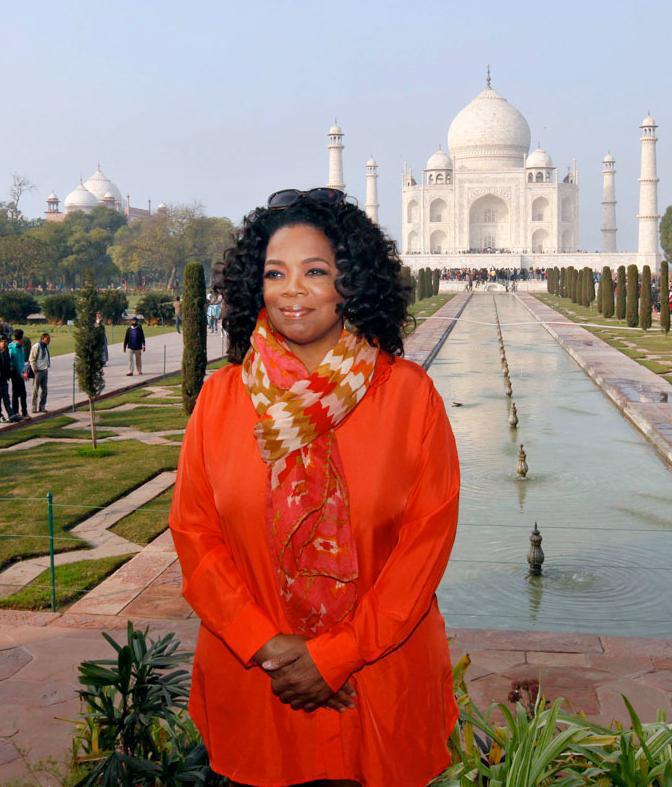 Oprah Winfrey wearing Theodora and Callum Coral Multi Serengeti Tie All Scarf at The Taj Mahal