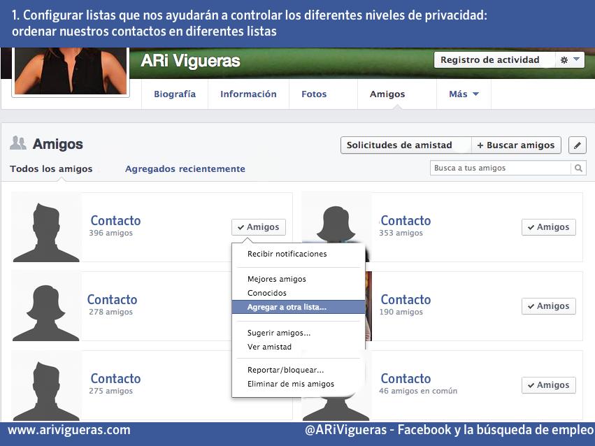 Utilizar Facebook para buscar empleo: ordenar los amigos en listas. Un post de @ARiVigueras