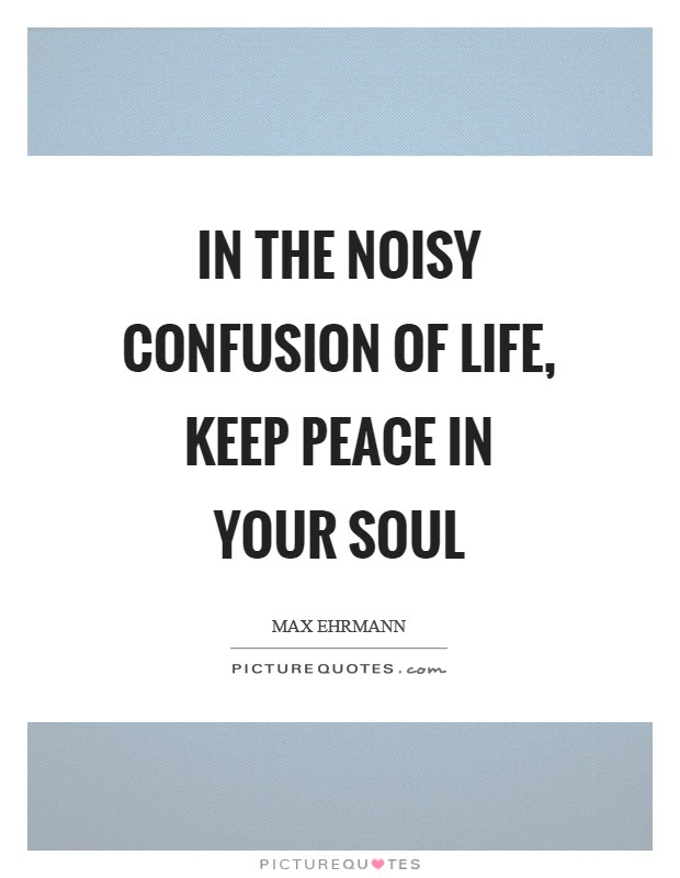 In The Noisy Confusion Of Life Keep Peace In Your Soul Picture Quotes