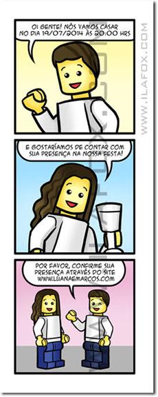 convite em quadrinhos, convite estilo Lego, Lego, convite diferente, convite original, convite noivos Lego, by ila fox