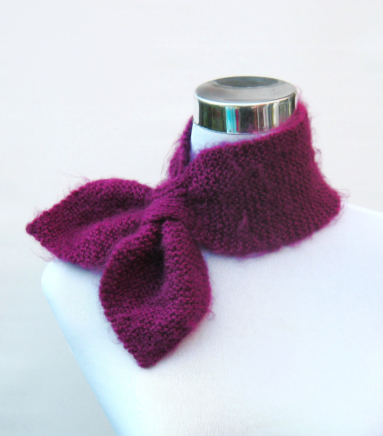 Ascot scarf knitted retro 50s style scarflette neck warmer in vibrant mohair look plum purple
