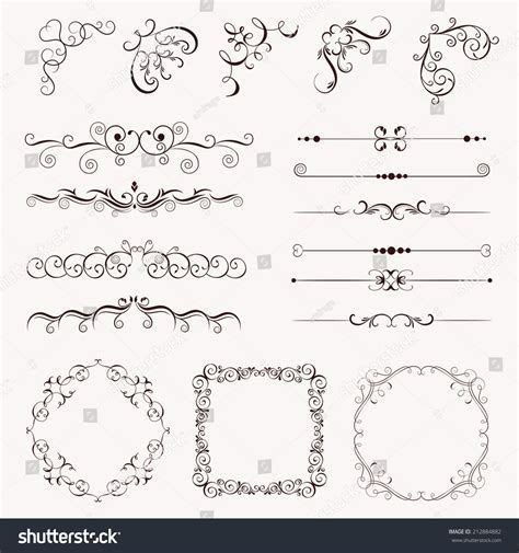 Set Vintage Decorative Elements Frames Borders Stock
