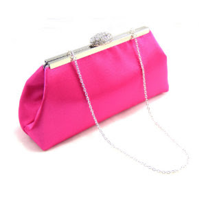 Custom Hot Pink and Silver Bridesmaid Clutch