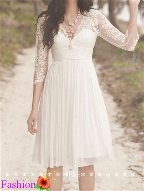 Short Lace Wedding Dress, Ivory Wedding Dress, Simple Long