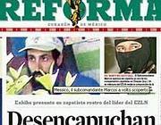 La prima pagina del quotidiano Reforma