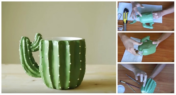 tazza decorata fimo cactus tutorial