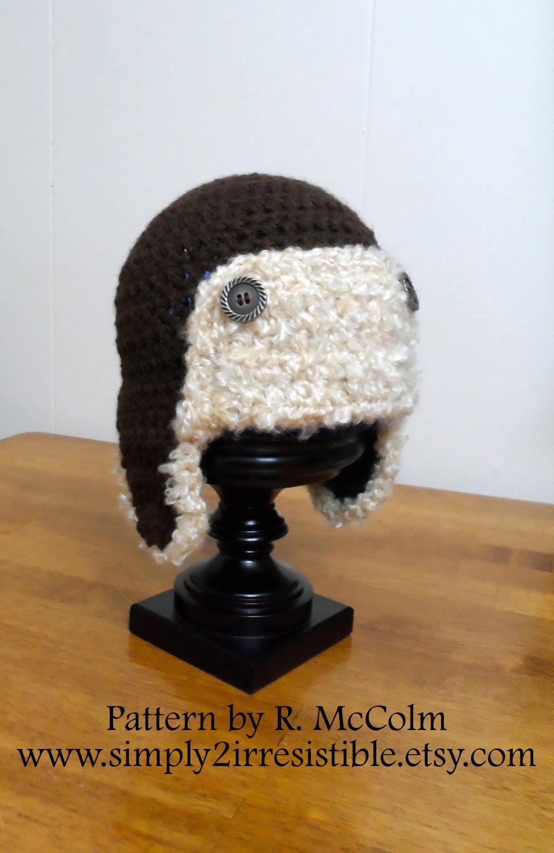 Aviator Bomber Hat - Crochet Pattern Number 45 - Newborn to Adult - Crochet Hat PATTERN