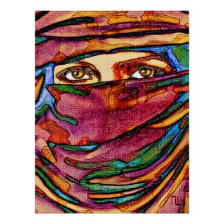 A colorful veil and immense eyes .... print