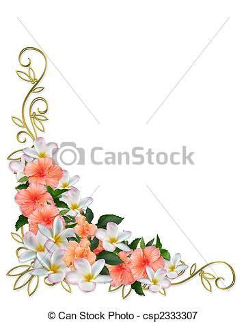 Tropical flowers corner design. Image and illustration