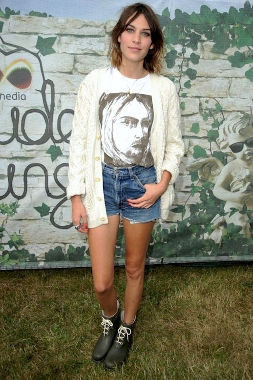 31 Le Fashion Blog 40 Of Alexa Chung Best Looks With Denim Shorts Kurt Cobain Tee Cardigan Rubber Boots Jean Cut Offs Via InStyle UK