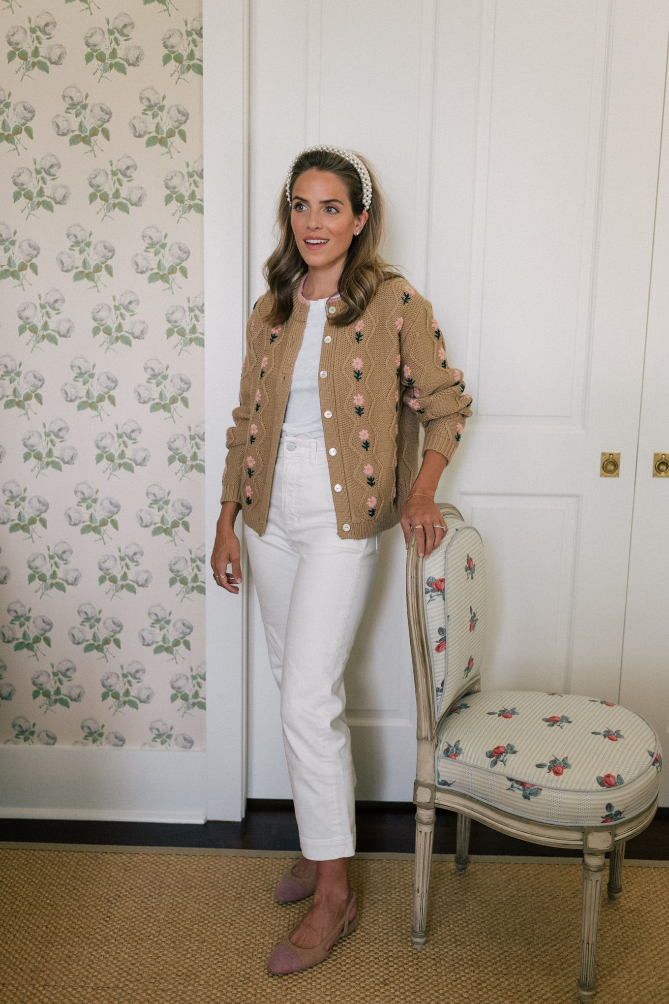 tan cardigan with pink flowers